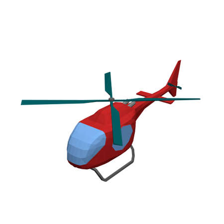 Polygonal helicopter. Isolated on white background. 3d Vector illustration.