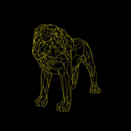 Abstract lion. Isolated on black background.Vector outline illustration.