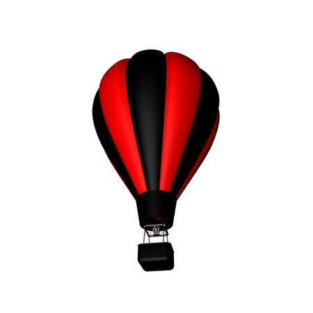 Hot air balloon. Isolated on white background. 3D rendering illustration. Banque d'images