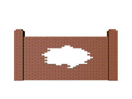 Broken brick fence. Isolated on white background. 3D rendering illustration.