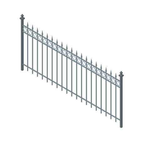 Metal fence. Isolated on white background.Vector illustration.Isometric view.
