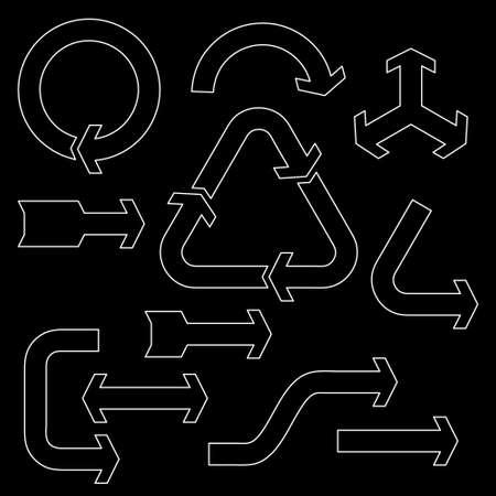 Arrow sign set. Isolated on black background.Vector outline illustration. Ilustração