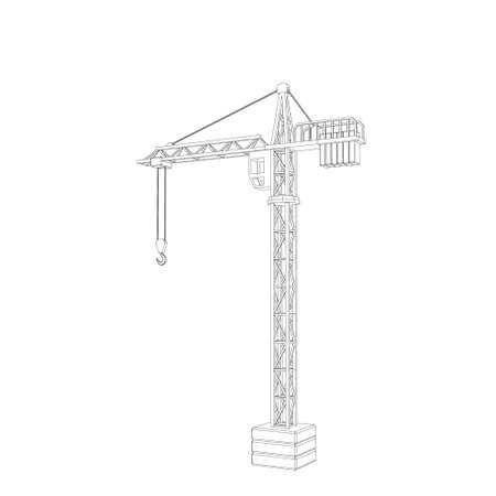 Tower crane. Isolated on white background.Vector outline illustration.