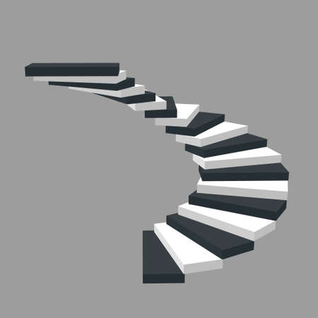 Spiral staircase. Isolated on grey background.3d Vector illustration.