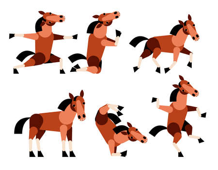 Abstract horse set. Isolated on white background. Vector colorful illustration.Horse run.dancing Horse.Horse practicing yoga.Horse pray.