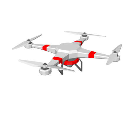 Drone with camera, UAV. Isolated on white background. 3d Vector illustration. Ilustracja