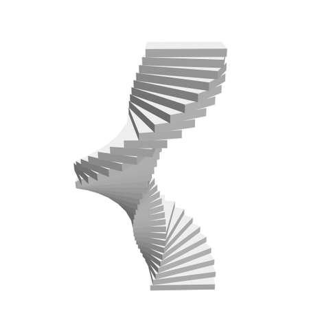 Wendeltreppe. Isoliert auf weißem Hintergrund. 3d Vektorillustration.