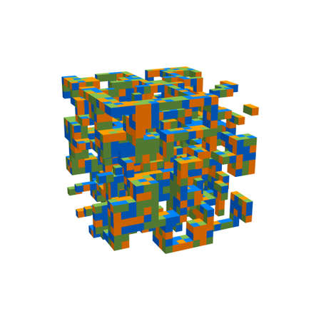 Abstract 3d construction in form of cube. Isolated on white background. Vector colorful illustration.