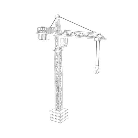 Tower crane. Isolated on white background.Vector outline illustration. Banque d'images - 102096016