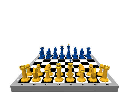 Chess board with figures. Isolated on white background. 3d Vector illustration.