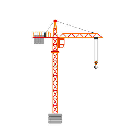 Tower crane isolated on white background vector illustration.