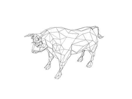 Abstract bull polygonal.Isolated on white background. Sketch illustration. Stock Photo