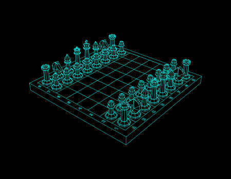 Chess board with figures. Isolated on black background. Vector outline illustration. Stock Illustratie