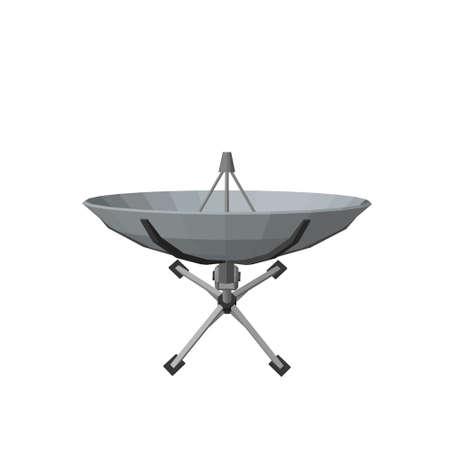 Antena parabólica. Aislado sobre fondo blanco. Ilustración vectorial 3D. Vista superior.
