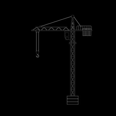 Tower crane. Isolated on black background.Vector outline illustration.