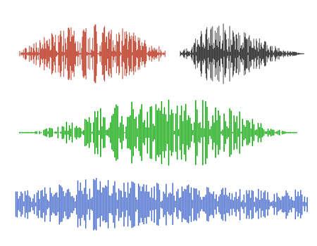 Various sound waves. Isolated on white background.Vector illustration. Ilustração Vetorial