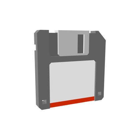 Floppy diskette icon. Isolated on white background.3d Vector illustration.