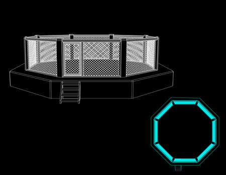 Octagon fight cage. Isolated on black background. Vector outline illustration. Front view. Çizim
