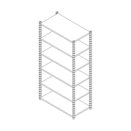 Metal shelving unit. Isolated on white background. 3d Vector illustration. Isometric projection.