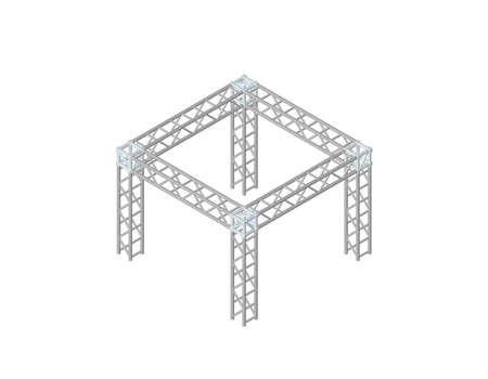 Truss construction. Isolated on white background. 3D Vector illustration. Isometric projection.