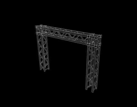Costruzione a traliccio. Isolato su sfondo nero. Illustrazione di contorno vettoriale.