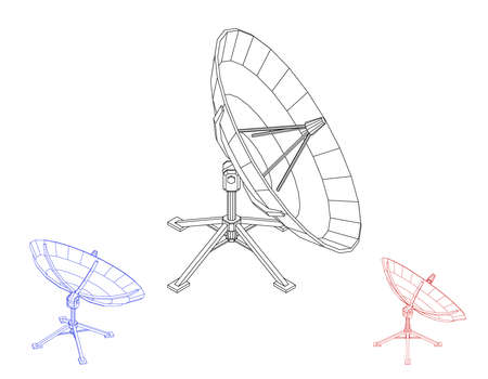 Ensemble d'antenne parabolique. Isolé sur fond blanc. Illustration de contour de vecteur.