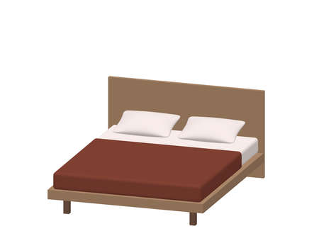 Modern double bed. Isolated on white background. 3d Vector illustration. Dimetric projection.