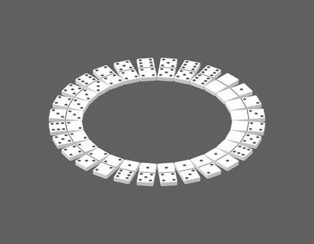 Circle of dominoes. Isolated on grey background. 3d Vector illustration. Isometric projection. Stock Illustratie