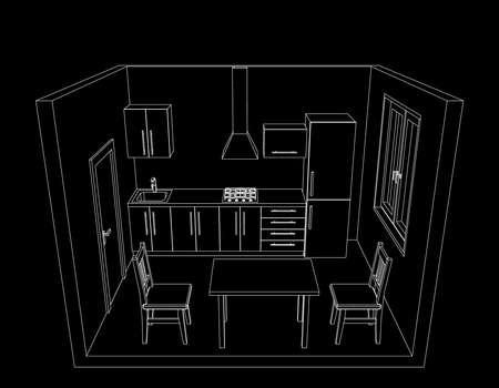 Interior kitchen room on black background. Vector outline illustration.