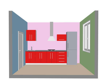 Interior kitchen room. 3d Vector illustration. Front view. Vectores