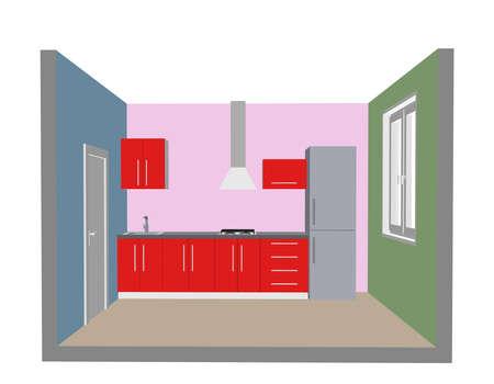 Interior kitchen room. 3d Vector illustration. Front view. Ilustrace