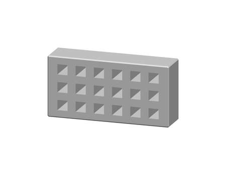 Perforated brick. Isolated on white background.3D Vector illustration. Dimetric projection. Ilustrace