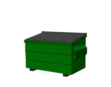Recycling dumpster. Isolated on white background. 3d Vector illustration.