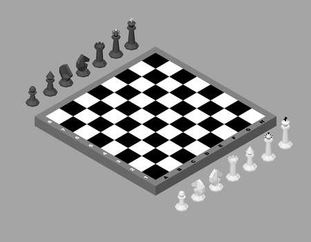Chess board with figures. Isolated on grey background. Isometric projection. 3d Vector illustration.