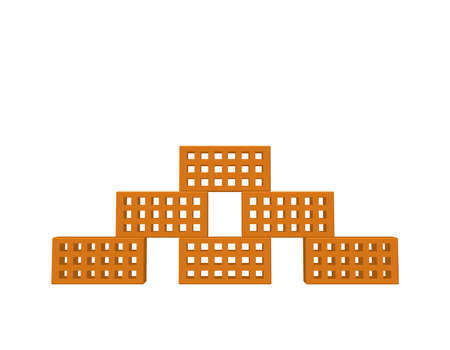 Pyramid of bricks. Isolated on white background. 3D Vector illustration. Front view.