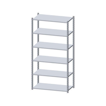 Metal shelving unit. Isolated on white background. 3d Vector illustration. Dimetric projection. Illustration