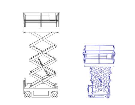 Piattaforma elevatrice a forbice. Isolato su sfondo bianco. Illustrazione di contorno vettoriale.