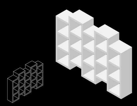 Librería vacía. Aislado sobre fondo negro. 3d ilustración vectorial. Proyección isométrica.