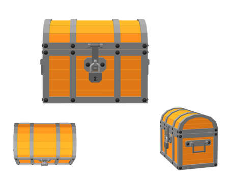 Closed wooden chest. Isolated on white background. 3d Vector illustration. Different viewes.