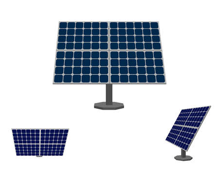 Solar panel. Isolated on white background. 3d Vector illustration. Different viewes.