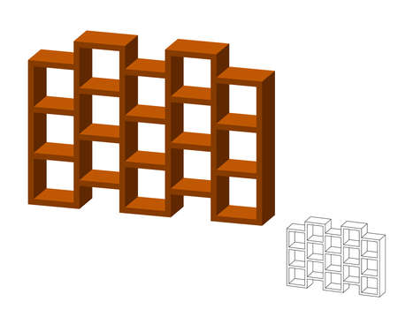 Empty modern bookcase. Isolated on white background. 3d Vector illustration. Dimetric projection.
