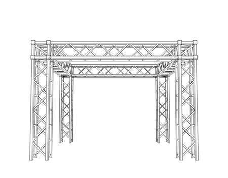 Truss construction. Isolated on white background.Vector outline illustration.