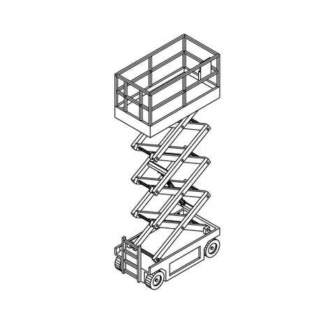 Scissors lift platform. Isolated on white background. Vector outline illustration. Illustration