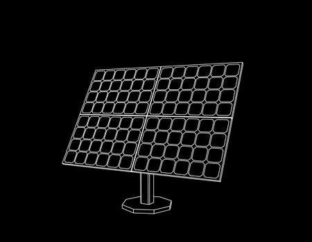 Solar panel. Isolated on black background. Vector outline illustration.