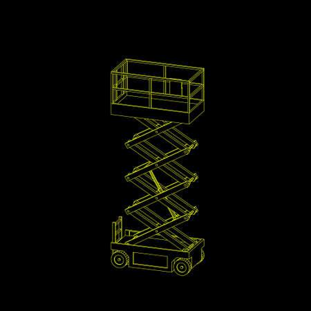 Scissors lift platform. Isolated on black background. Vector outline illustration.