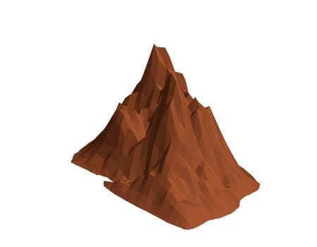 Roca de montaña. Aislado sobre fondo blanco. 3d ilustración vectorial. Proyección isométrica.