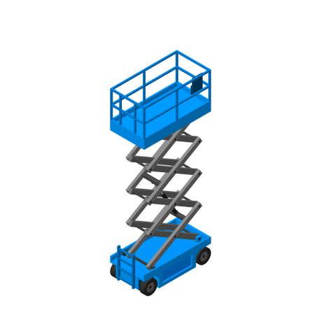 Plataforma elevadora de tijeras. Aislado sobre fondo blanco. 3d ilustración vectorial.