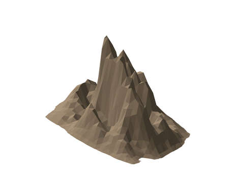 Mountain rock. Isolated on white background. 3d Vector illustration. Isometric projection.  イラスト・ベクター素材