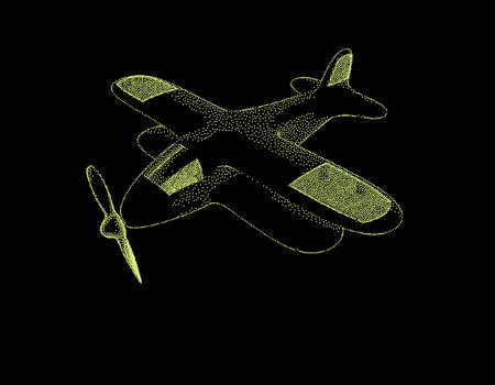Retro plane. Isolated on black background. Vector  illustration. Pointillism style. Vettoriali