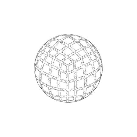 Abstract polygonal broken sphere. Isolated on white background.Vector outline illustration.